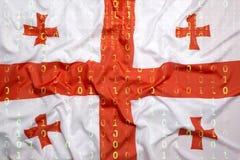 Бинарный код с флагом Georgia, концепция защиты данных Стоковое фото RF