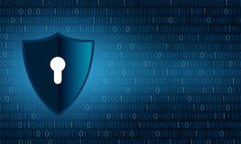 Бинарный экран и замок предохранения от безопасностью и конфиденциальностью данных экрана над предпосылкой разрядов двоичного чис иллюстрация штока