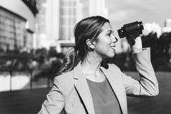 Бинокулярное зрение наблюдает, что решение находит концепция Стоковая Фотография