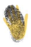 биометрическая обеспеченность печати руки перста Стоковые Фото