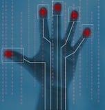 биометрическая обеспеченность развертки руки иллюстрация штока