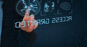 Биометрическая проверка, бизнесмен выходя отпечаток пальцев на виртуальный экран стоковое изображение rf