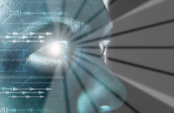 биометрическая развертка радужки глаза стоковое изображение rf