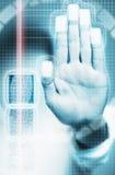 Биометрическая скеннирование фингерпринтов Стоковая Фотография