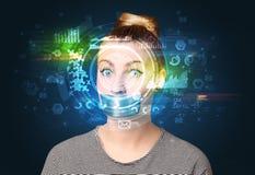 Биометрические идентификация и опознавание ухода за лицом Стоковое Фото