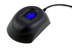 биометрический голубой фингерпринт прибора Стоковые Фотографии RF