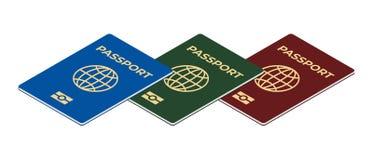Биометрический изолированный комплект пасспорта Стоковое Изображение RF