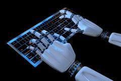 Бионические руки печатая на клавиатуре Робототехнический киборг руки используя компьютер 3d представляют иллюстрацию Концепция те иллюстрация вектора