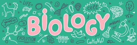биохимии Doodles биологии с литерностью иллюстрация вектора