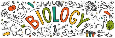 биохимии Doodles руки вычерченные с литерностью иллюстрация вектора