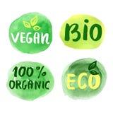 Био естественная концепция еды вектор комплекта ярлыков Стоковое Изображение