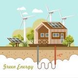 Био зеленый плакат энергии Дом Eco содружественный также вектор иллюстрации притяжки corel Стоковая Фотография RF