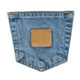 бирка джинсовой ткани кожаная карманная Стоковые Фотографии RF