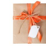 Бирка ленты смычка подарочной коробки Стоковые Изображения RF