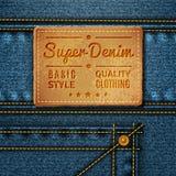 Бирка джинсов кожаная квадратная стоковые фото