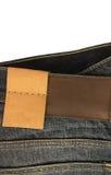 Бирка и ярлык пробела демикотона джинсовой ткани Стоковая Фотография