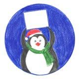 Бирка пингвина для подарка Стоковая Фотография