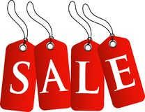 Бирка продажи с красным цветом иллюстрация штока
