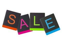 Бирка продажи от черной кожаной пусковой площадки Стоковое Изображение