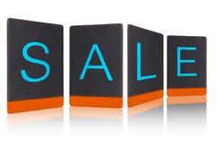 Бирка продажи от черной кожаной пусковой площадки Стоковые Изображения