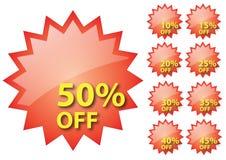 бирка сбывания процентов красная Стоковая Фотография