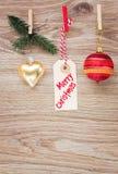 Бирка с украшениями рождества Стоковые Изображения