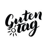 Бирка Guten Слово здравствуйте!, хороший день в немце Модная каллиграфия Иллюстрация вектора на белой предпосылке с солнцем Стоковая Фотография RF