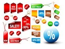 бирки большого цены установленные иллюстрация вектора