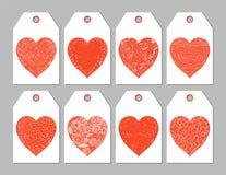 Бирки или ярлыки подарка с красными сердцами Иллюстрация штока