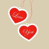 бирки красного цвета сердец Стоковое Изображение RF