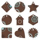 бирки подарка голубого коричневого цвета Стоковая Фотография