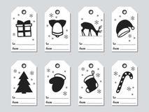Бирки подарка рождества и Нового Года Комплект xmas карточек Элементы нарисованные рукой Собрание ярлыка бумаги праздника в черно Стоковое Фото
