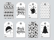 Бирки подарка рождества и Нового Года Комплект xmas карточек Элементы нарисованные рукой Собрание ярлыка бумаги праздника в черно Стоковое Изображение