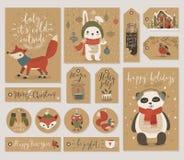 Бирки подарка рождества устанавливают, вручают вычерченный стиль бесплатная иллюстрация