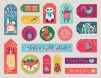 Бирки подарка рождества устанавливают, вручают вычерченный стиль иллюстрация штока