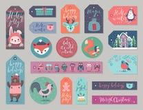 Бирки подарка рождества устанавливают, вручают вычерченный стиль иллюстрация вектора