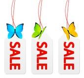 Бирки продажи бумажные с бабочками иллюстрация штока