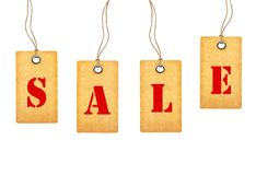 Бирки продажи изолированные на белизне Стоковое Фото