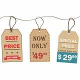 бирки сбывания установленные ретро тип Ярлыки продажи картона в винтажном стиле Установленные значки скидки иллюстрация вектора