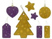 бирки снежинки золота подарка пурпуровые Стоковое Изображение