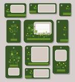 Бирки, ярлыки, зеленый цвет, желтый цвет выходят на темную ую-зелен предпосылку, экологичность, природу Иллюстрация вектора
