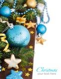 Бирюза и золотая граница орнаментов рождества стоковое фото