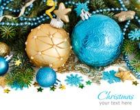 Бирюза и золотая граница орнаментов рождества стоковое изображение rf
