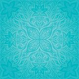 Бирюза цветет, дизайн мандалы декоративной богато украшенной предпосылки вектора праздника флористический бесплатная иллюстрация