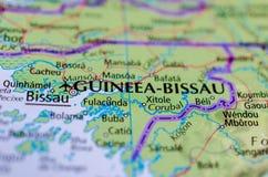 Бисау на карте Стоковое Фото