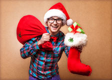 Битник в Санта Клаусе Стоковое Фото