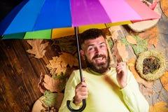 Битник с усиком бороды предпологает что ненастный зонтик владением погоды наслаждается сезоном Ненастная концепция прогноза погод стоковое изображение
