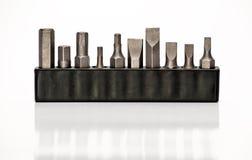 Биты конструкции стальные на белизне стоковая фотография rf
