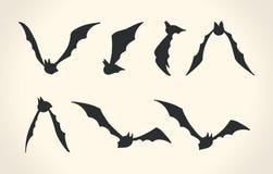 Бить силуэты в различные представления, illustrat вектора хеллоуина Стоковая Фотография RF