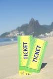 2 билета Бразилии в пляже Рио Ipanema песка Стоковая Фотография RF
